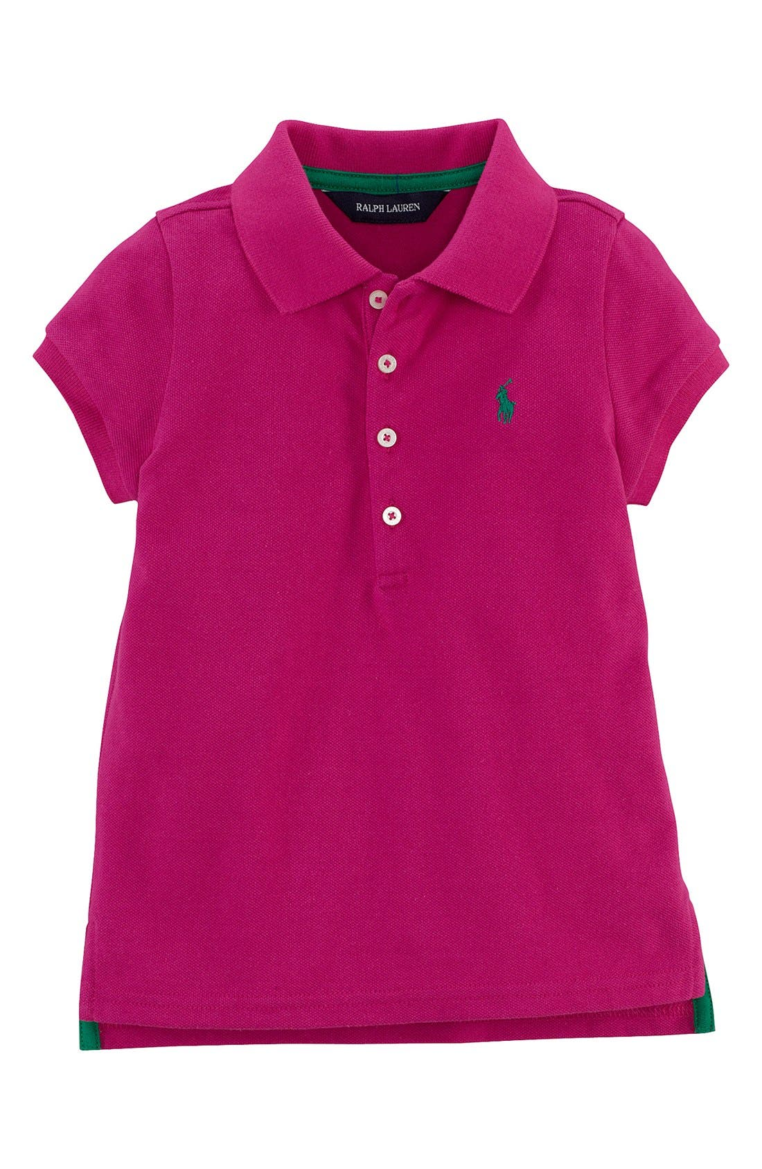 Alternate Image 1 Selected - Ralph Lauren Polo Shirt (Toddler Girls)