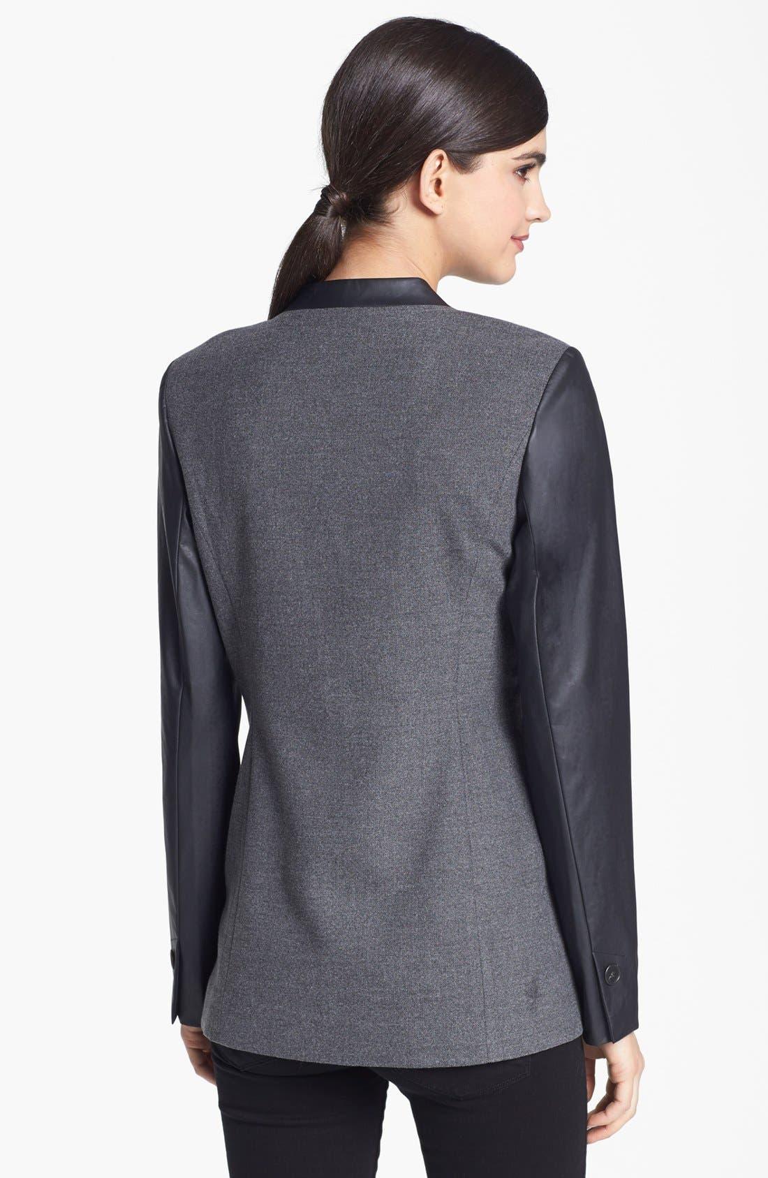 Alternate Image 2  - Trouvé Faux Leather Sleeve Blazer