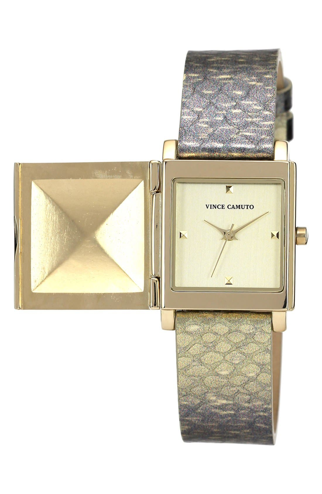 Alternate Image 1 Selected - Vince Camuto Pyramid Case Embossed Leather Strap, 28mm