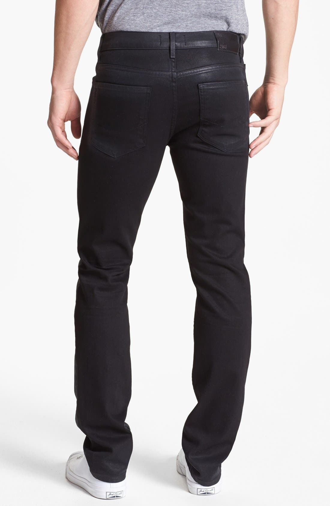 Alternate Image 1 Selected - PAIGE 'Federal' Coated Slim Fit Jeans (Oil Slick)