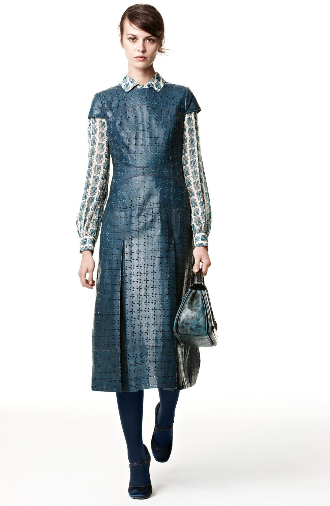 Alternate Image 4  - Tory Burch 'Collins' Leather Midi Dress