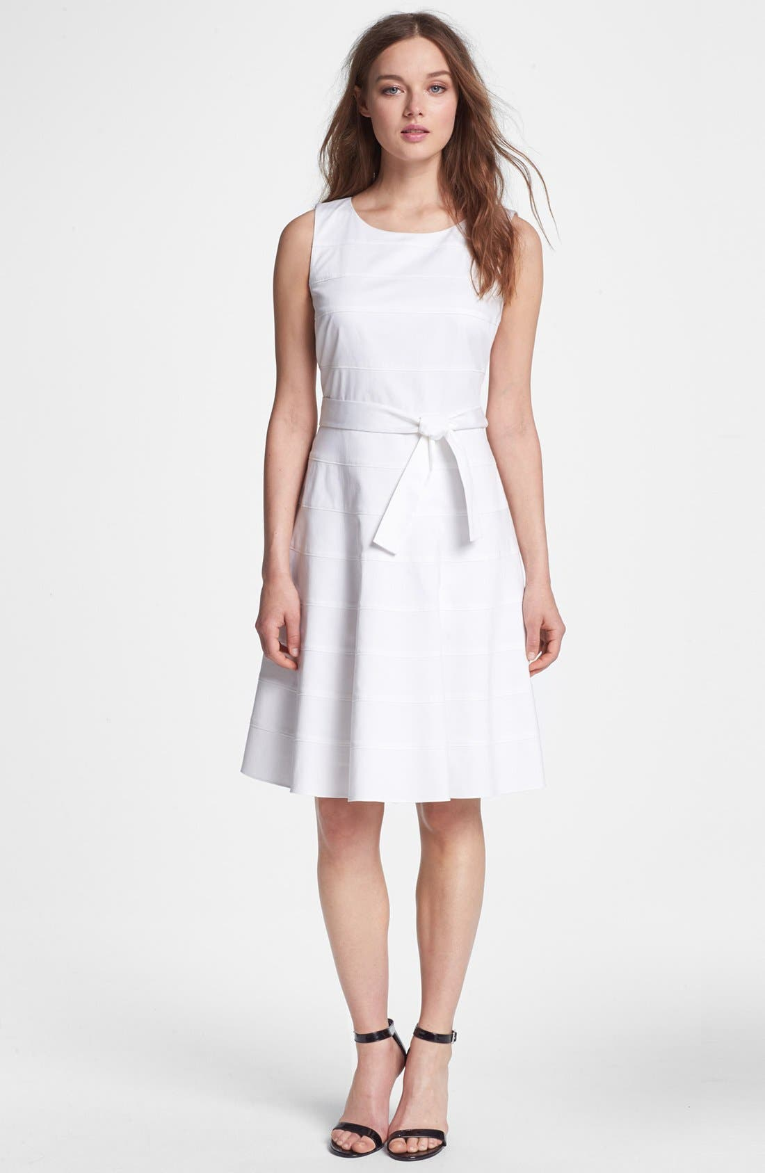 Main Image - Calvin Klein Banded Fit & Flare Dress (Petite)