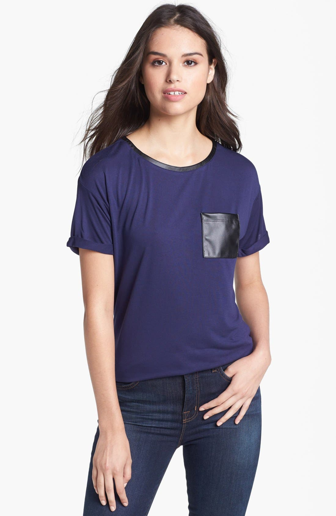 Main Image - Halogen® Faux Leather Pocket Tee