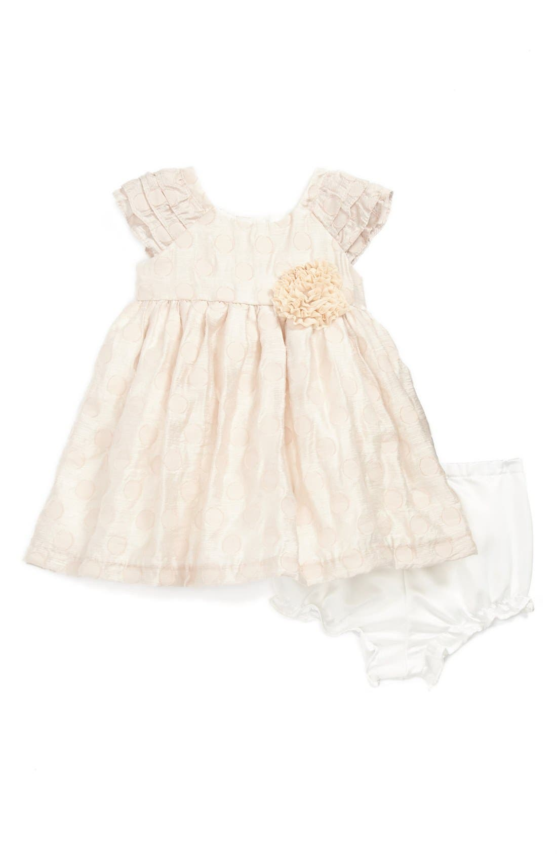 Alternate Image 1 Selected - Laura Ashley Brocade Dress (Baby Girls)
