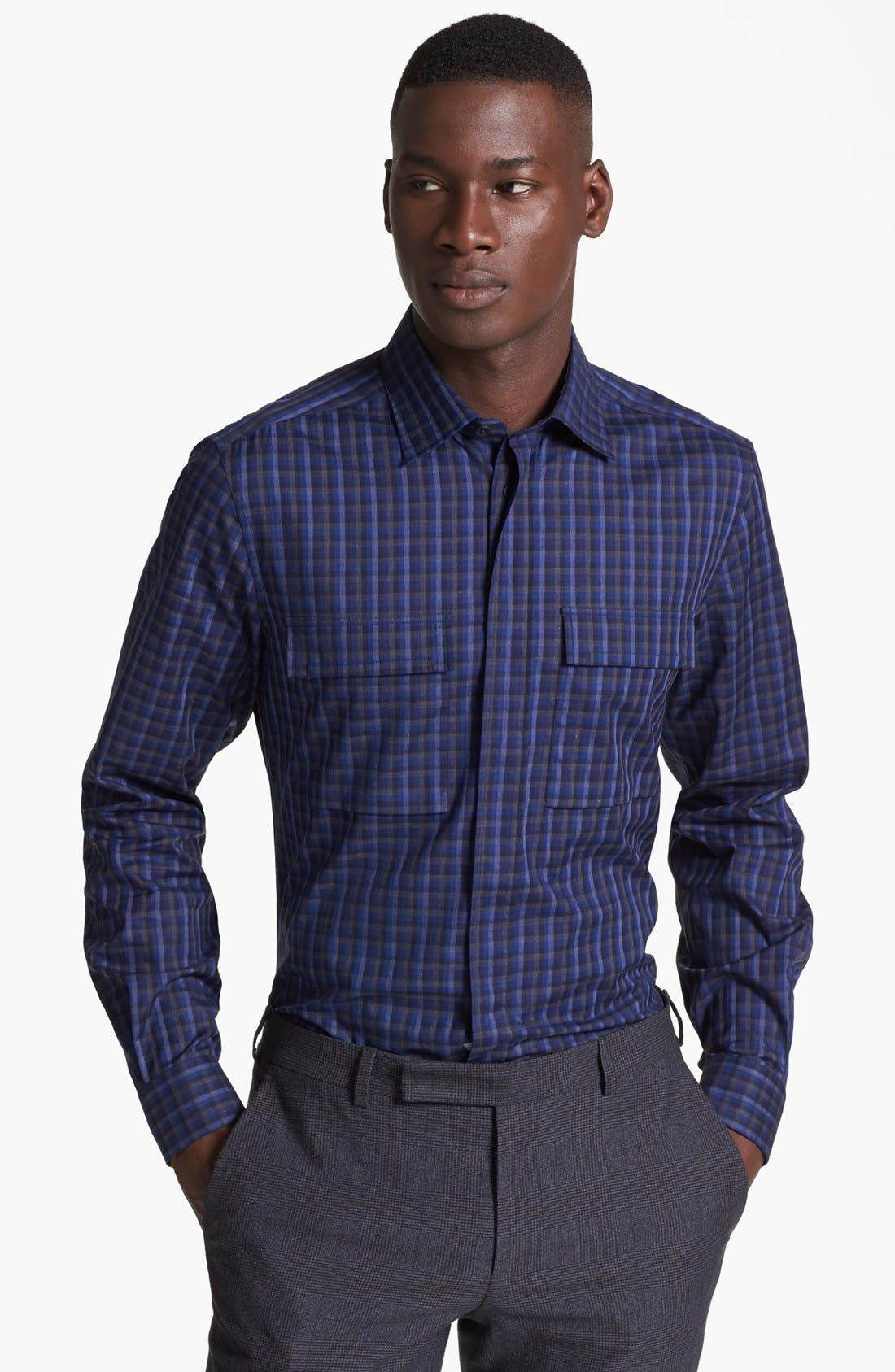 Alternate Image 1 Selected - Z Zegna Check Sport Shirt