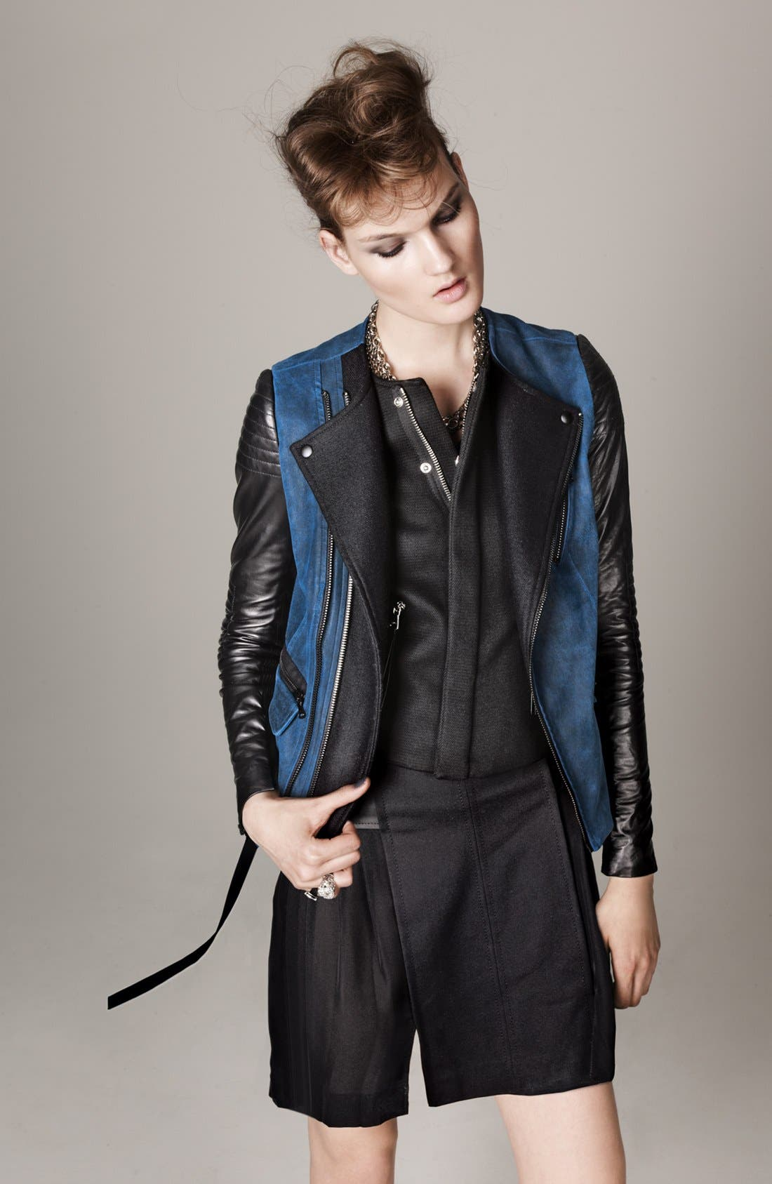 Alternate Image 4  - Rebecca Taylor Twill & Leather Moto Jacket
