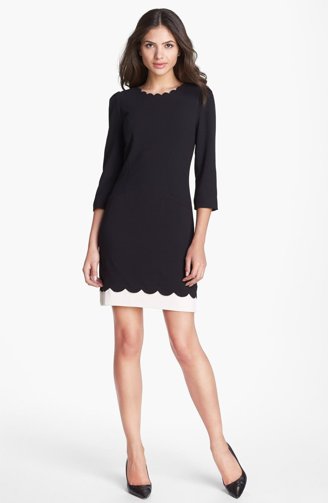 Main Image - Ted Baker London Scalloped Stretch Shift Dress