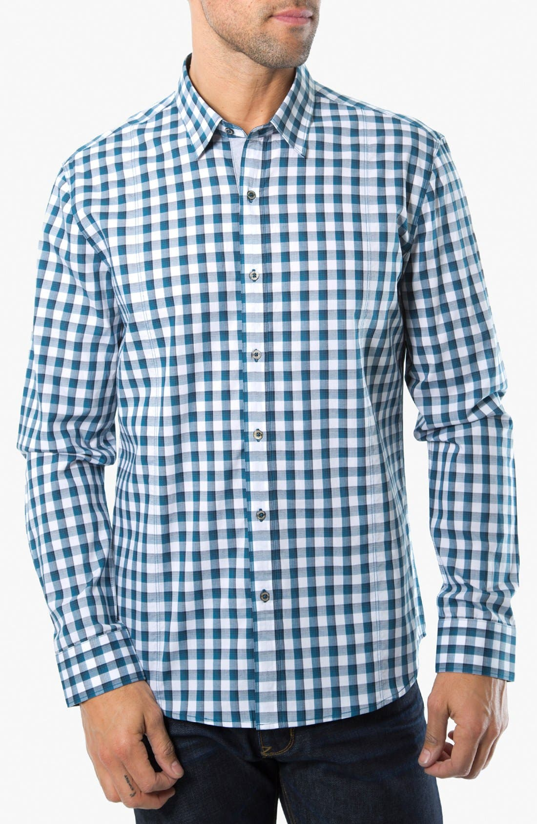 Alternate Image 1 Selected - 7 Diamonds 'One Day Away' Gingham Trim Fit Cotton Sport Shirt