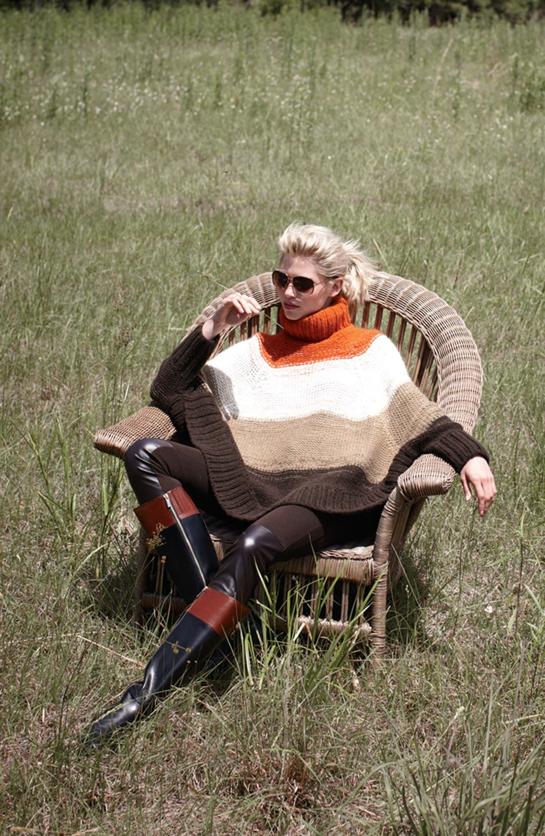 Alternate Image 6  - MICHAEL Michael Kors Stripe Turtleneck Poncho Sweater