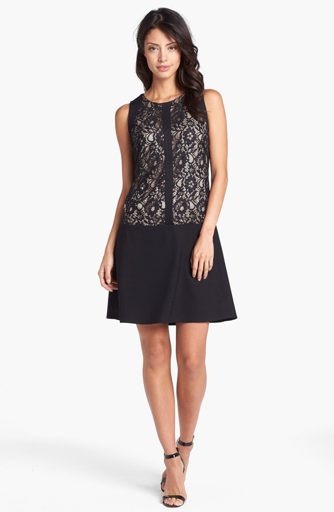 Alternate Image 1 Selected - Laundry by Shelli Segal Lace & Ponte Drop Waist Dress