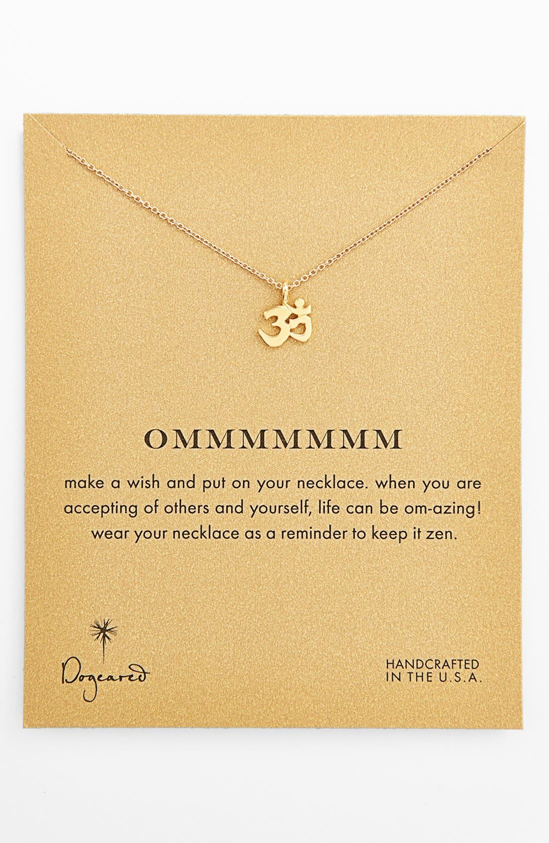 Main Image - Dogeared 'Reminder - Ommmmmmm' Boxed Pendant Necklace