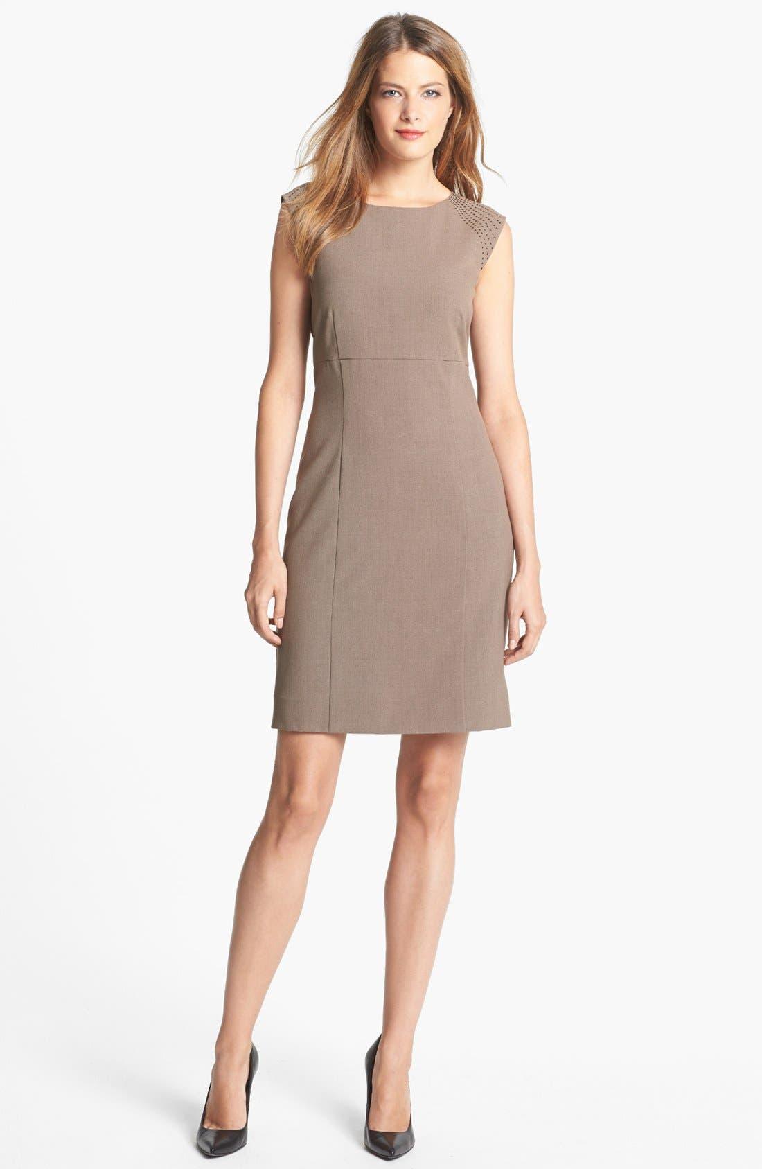Main Image - Tahari Studded Shoulder Two-Way Stretch Sheath Dress