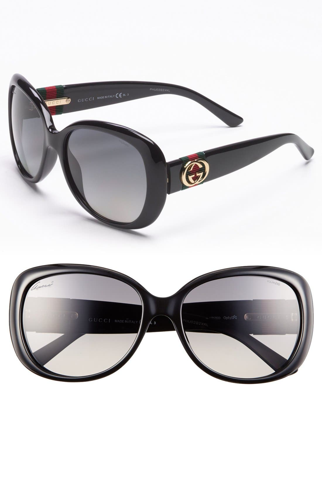 Alternate Image 1 Selected - Gucci 56mm Polarized Sunglasses