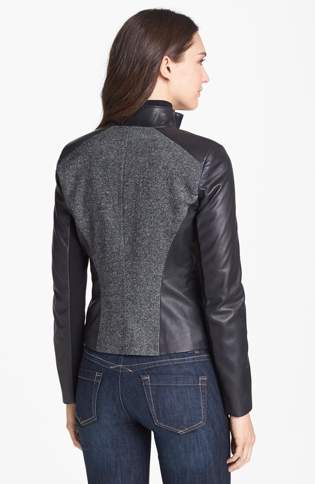 Alternate Image 2  - Cole Haan Leather & Speckled Wool Jacket