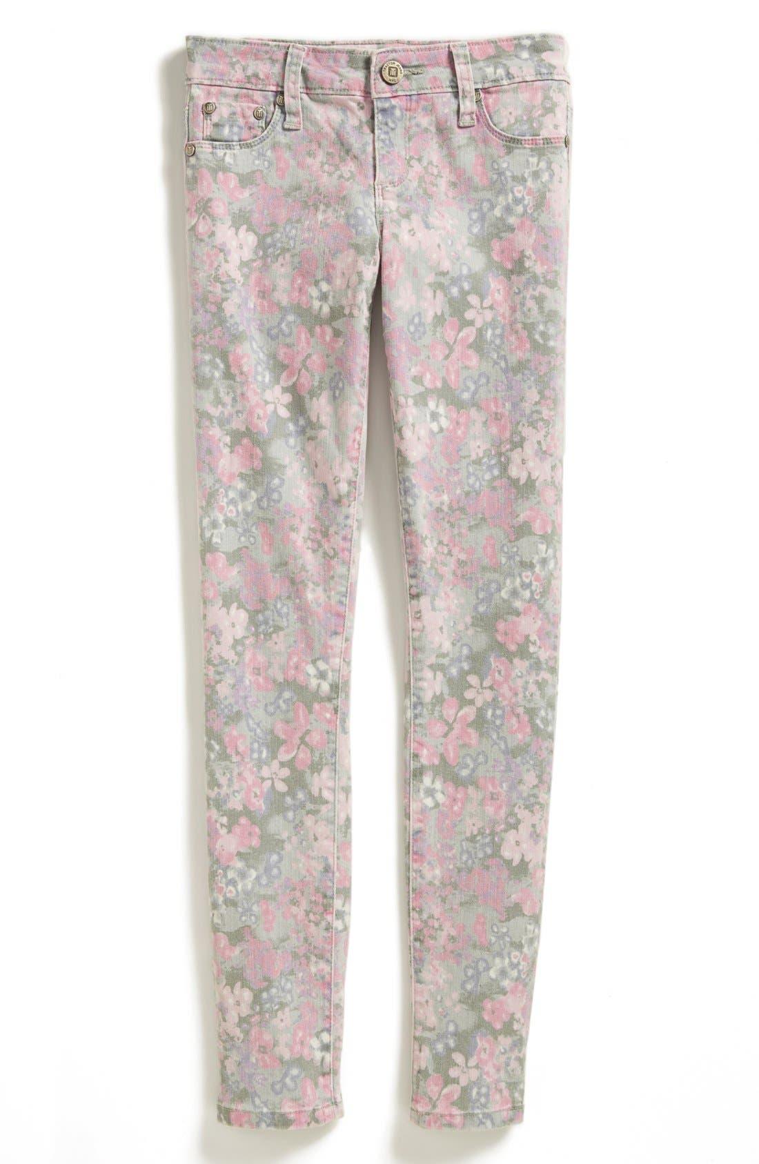 Alternate Image 2  - Tractor Floral Print Denim Pants (Big Girls)