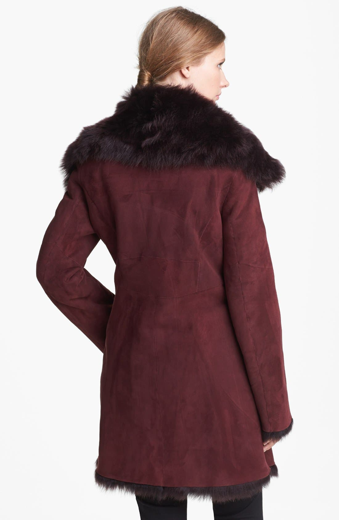 Alternate Image 2  - Cole Haan Asymmetrical Zip Genuine Toscana Shearling Coat