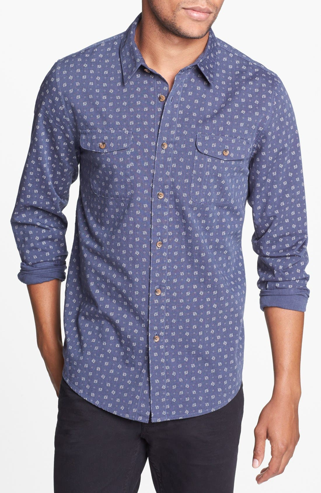 Alternate Image 1 Selected - Topman Patterned Chambray Cotton Shirt