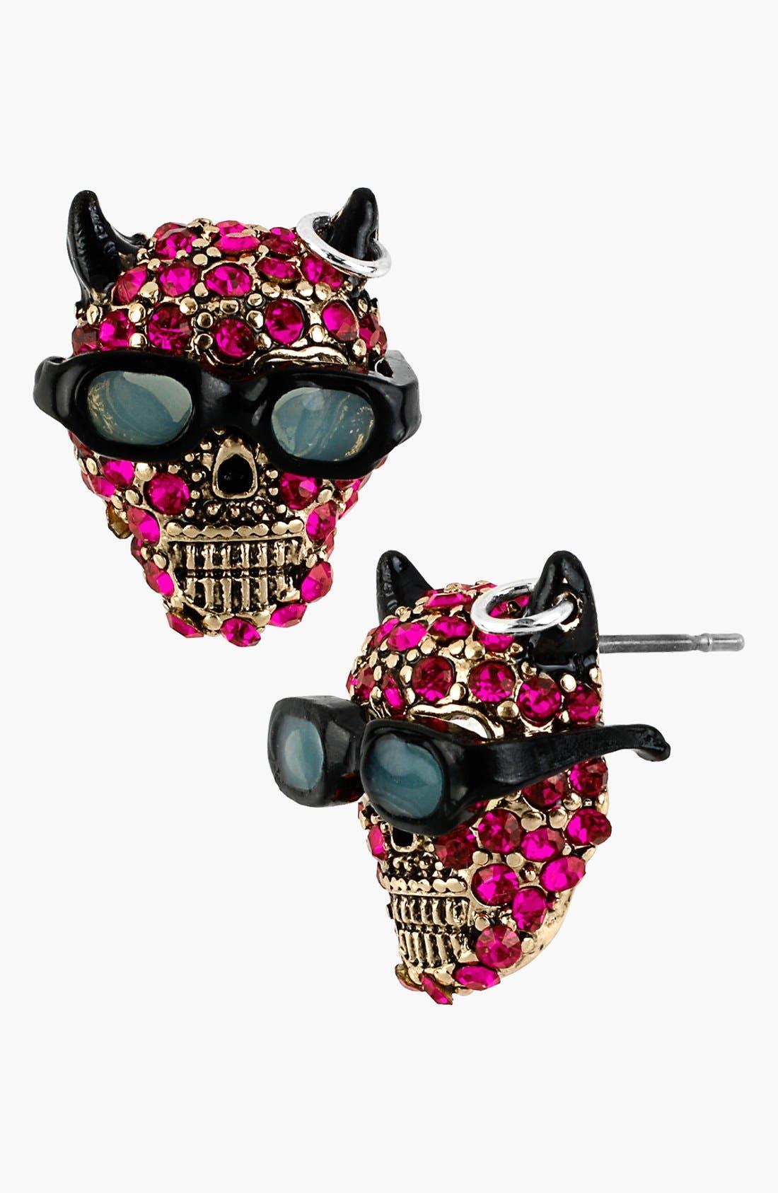 Alternate Image 1 Selected - Betsey Johnson 'Angel & Devil' Devil Stud Earrings