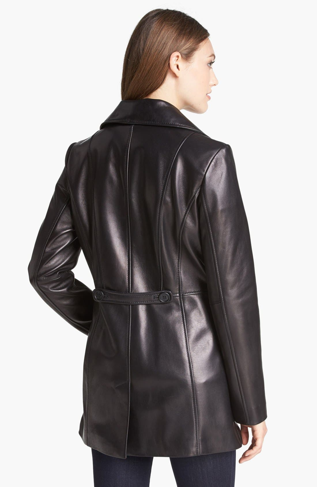 Alternate Image 2  - Kenneth Cole New York Button Front Leather Coat (Online Only)