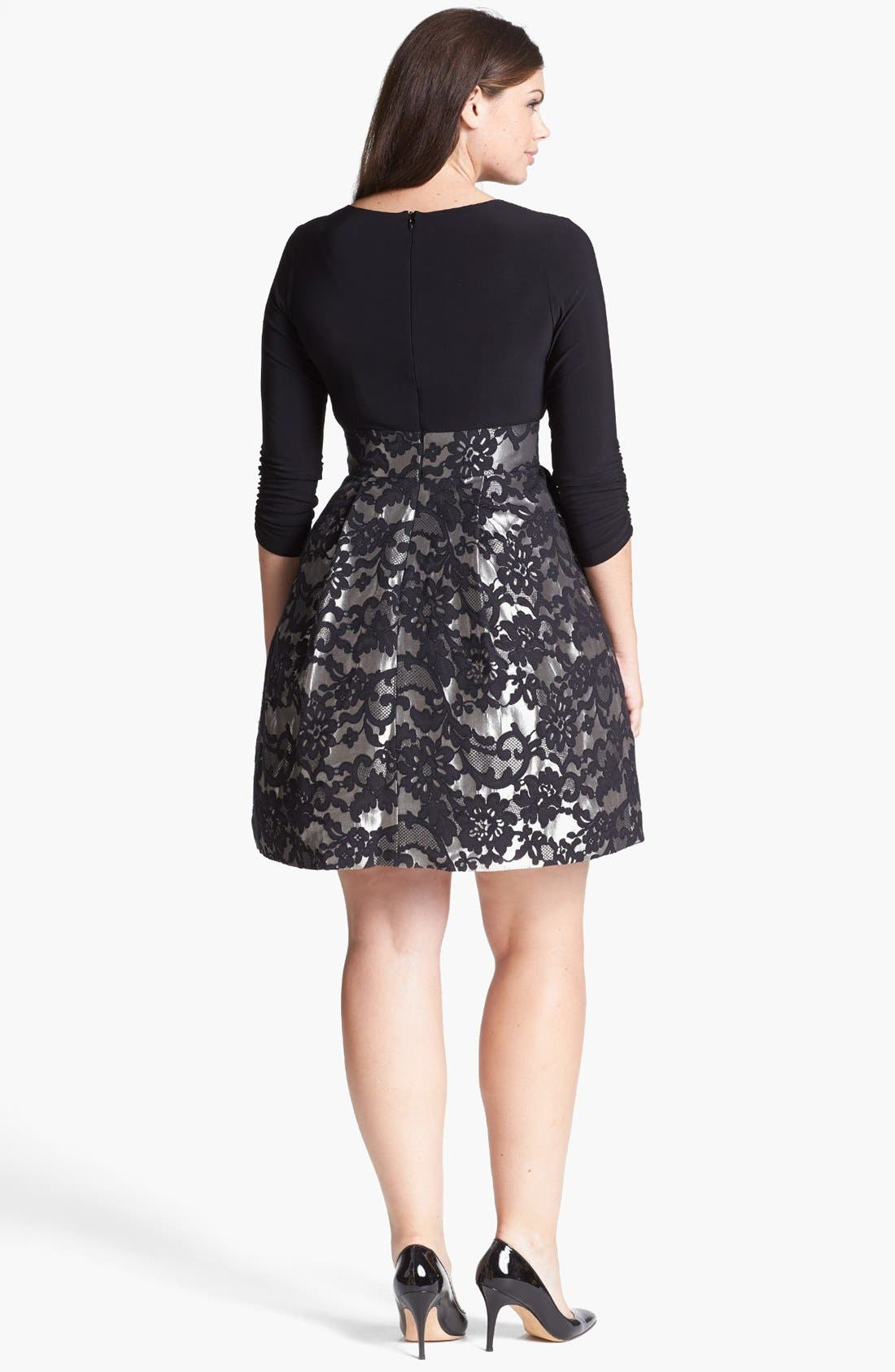 Alternate Image 2  - Eliza J Jacquard Skirt Dress (Plus Size)
