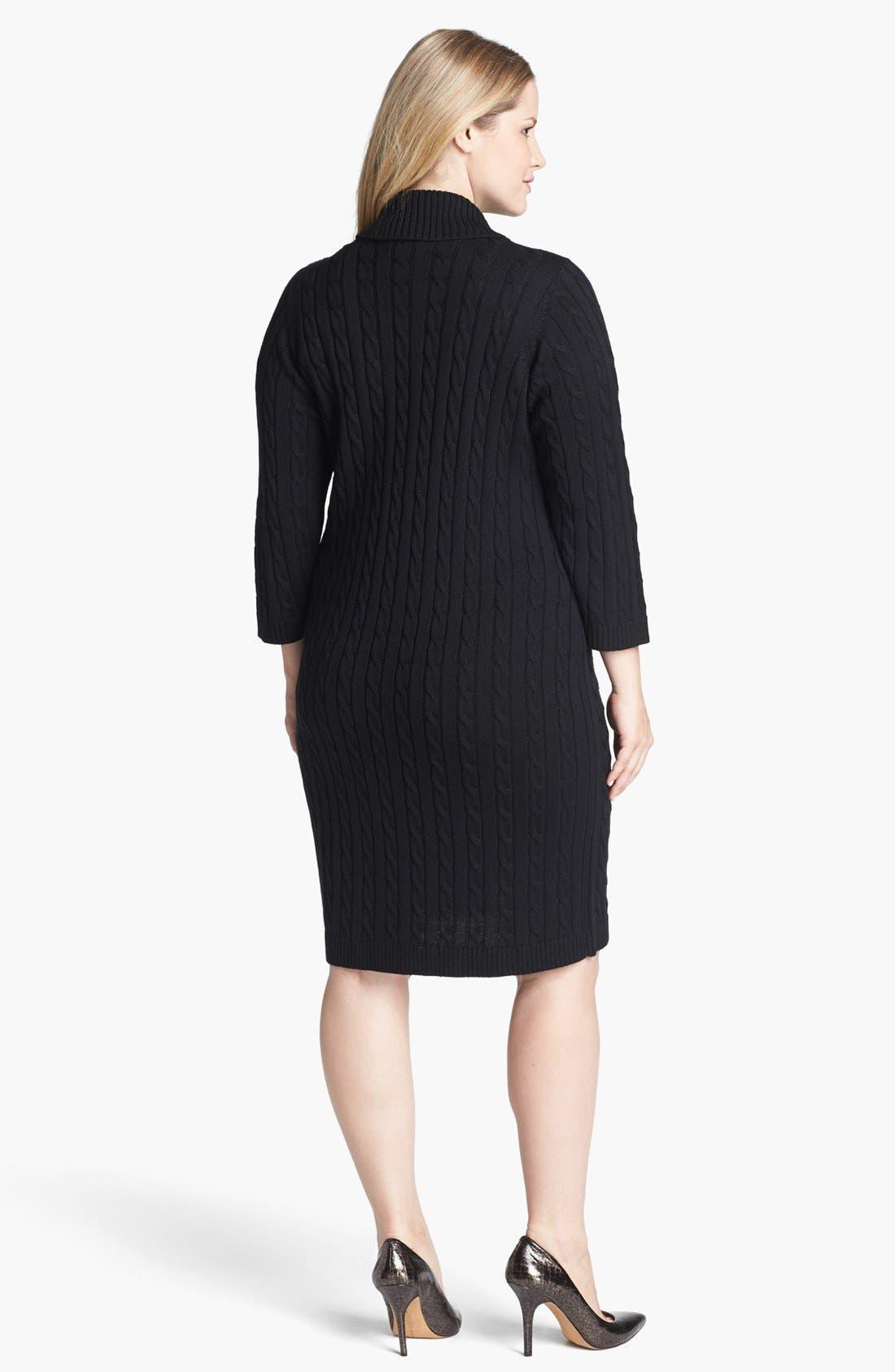 Alternate Image 2  - Calvin Klein Faux Wrap Sweater Dress (Plus Size)