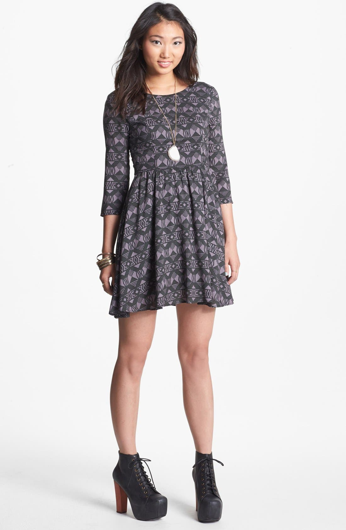 Main Image - Lush Lace Up Skater Dress (Juniors)