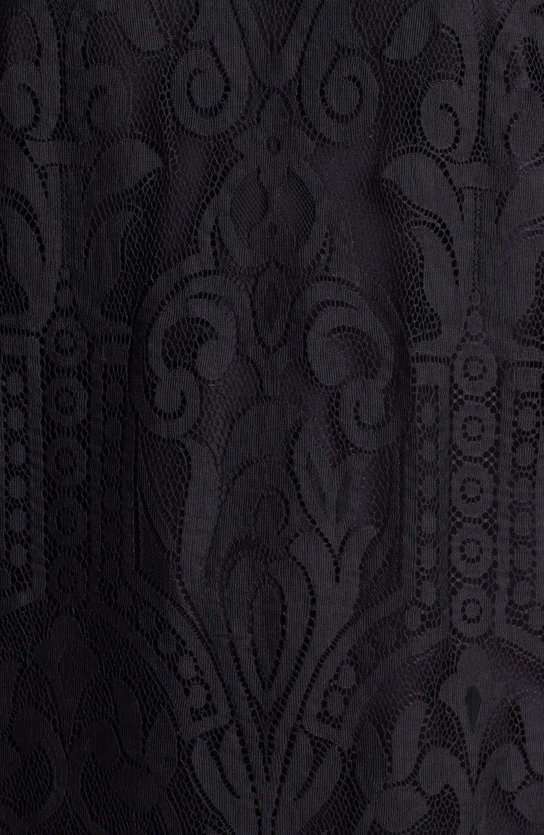 Alternate Image 3  - Laundry by Shelli Segal Blouson Sleeve Lace Dress (Regular & Petite)