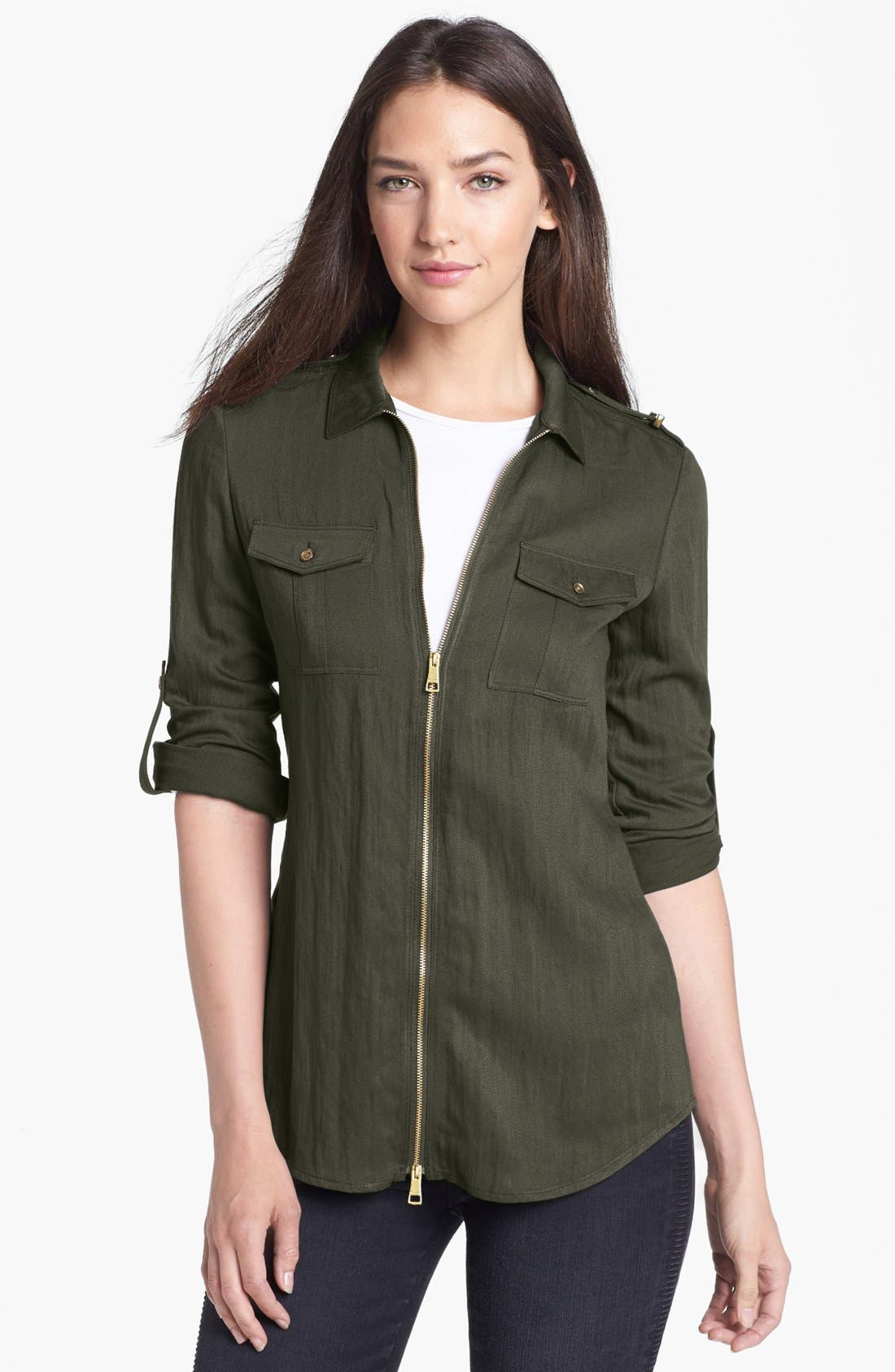 Main Image - Burberry Brit Roll Sleeve Crinkled Twill Shirt Jacket