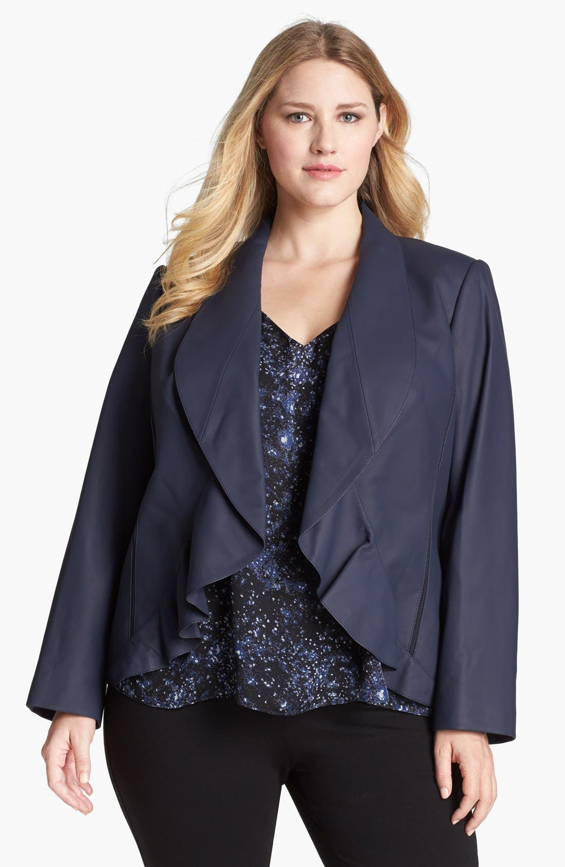 Main Image - Lafayette 148 New York 'Trula' Lambskin Leather Jacket (Plus Size)