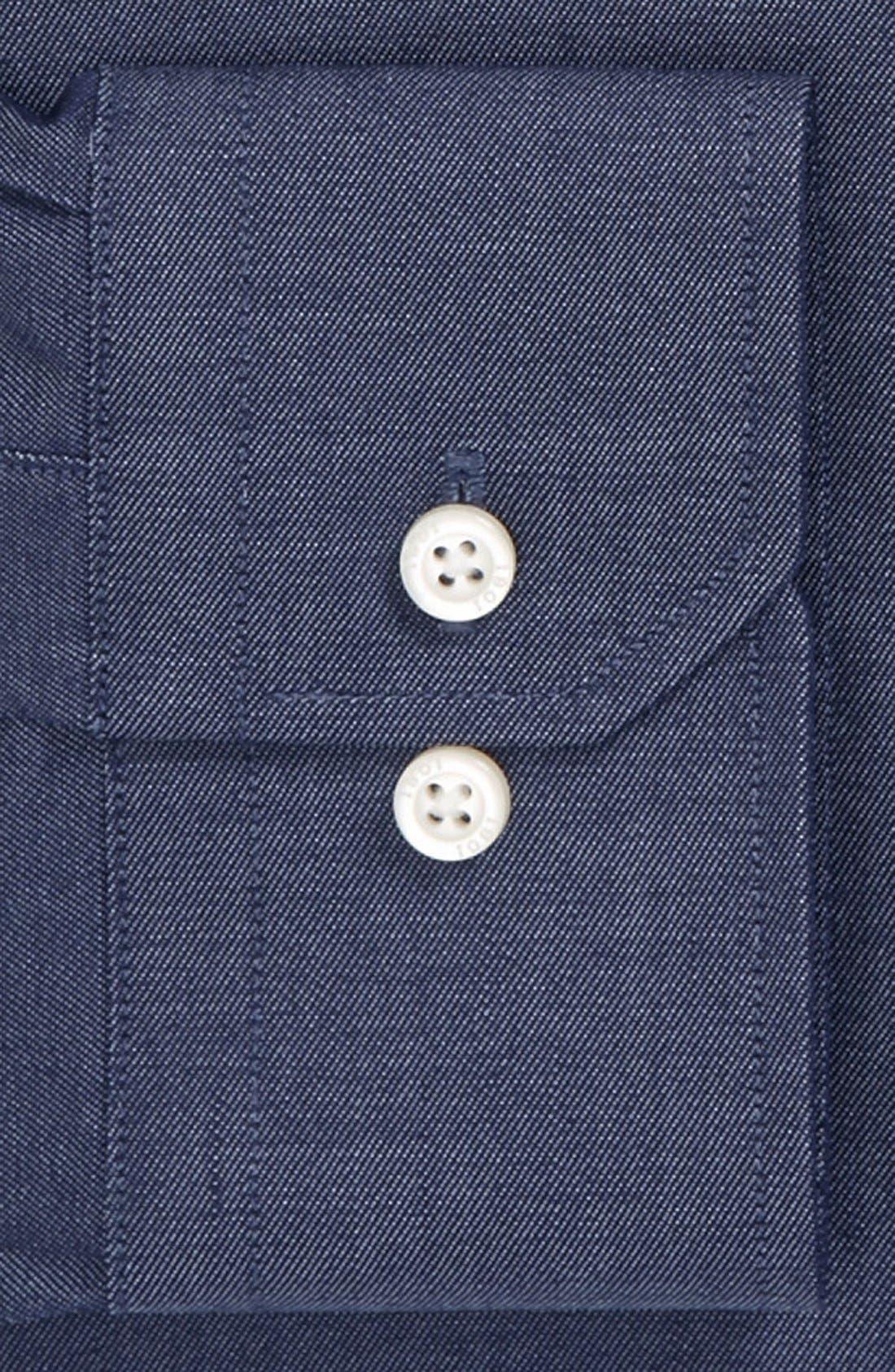 Alternate Image 2  - 1901 Trim Fit Denim Dress Shirt