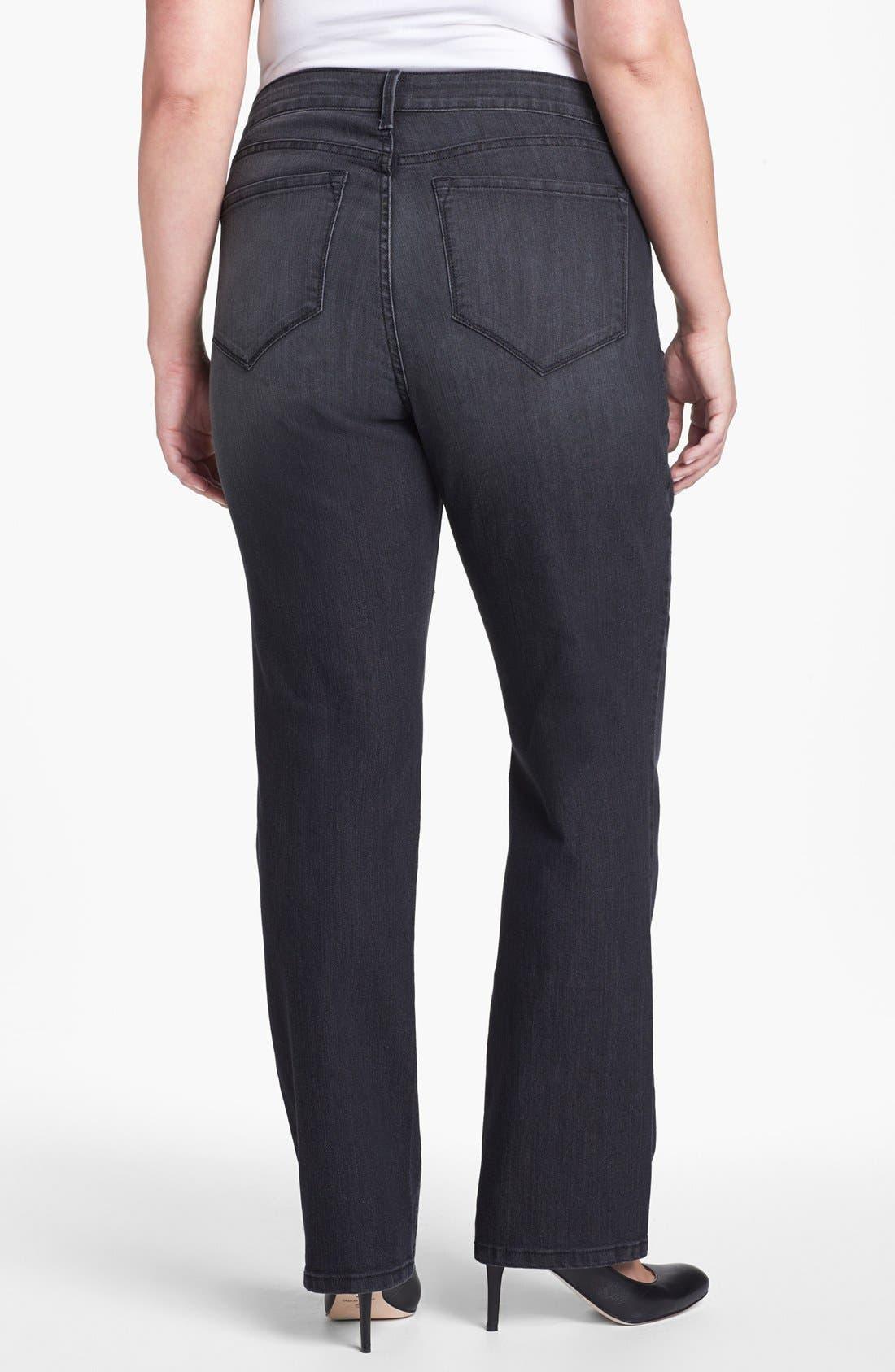 Alternate Image 2  - NYDJ 'Marilyn' Straight Leg Jeans (Plus Size)