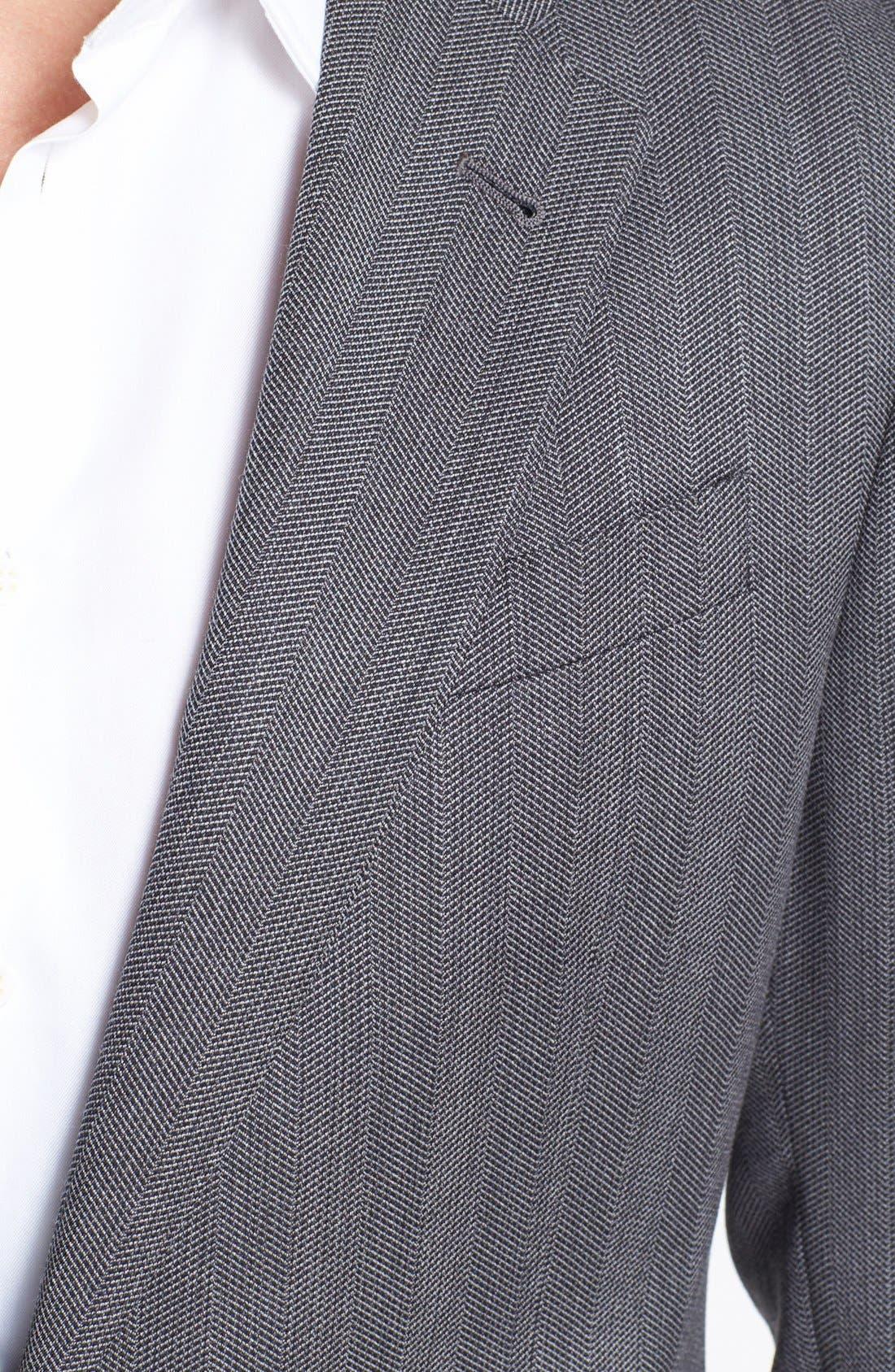 Alternate Image 2  - Armani Collezioni 'Giorgio' Grey Herringbone Wool Suit