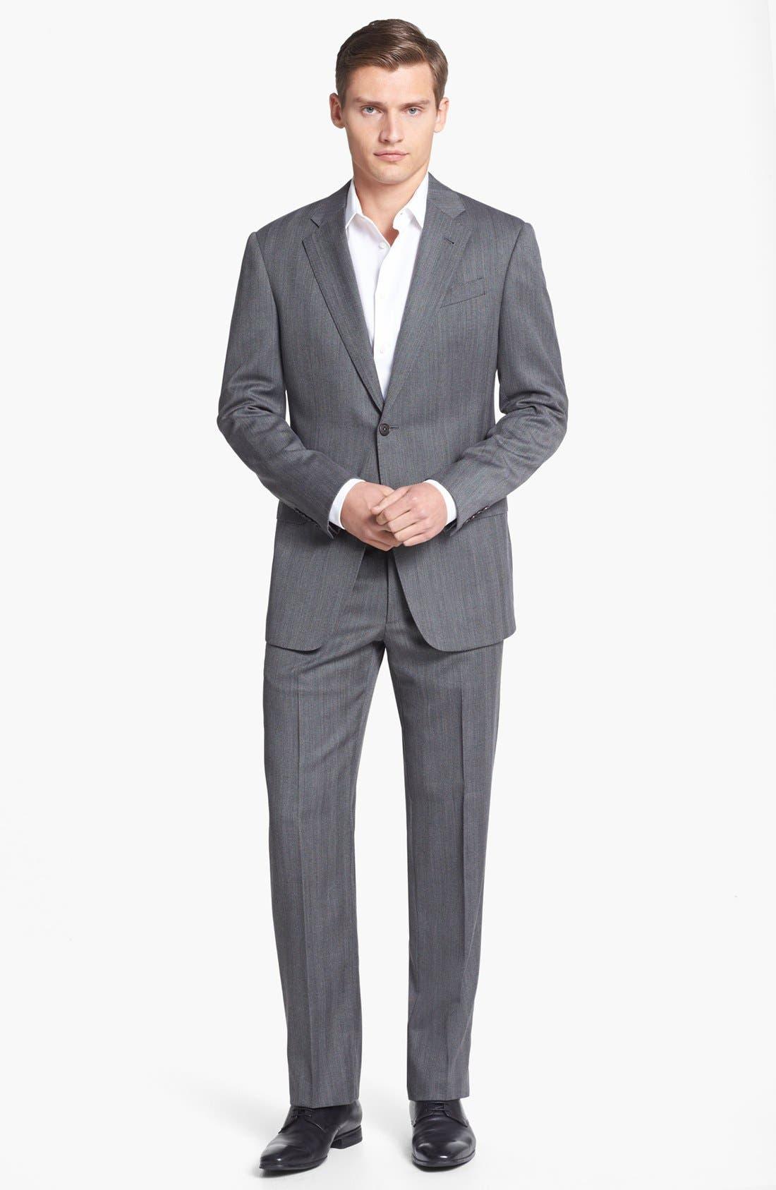 Main Image - Armani Collezioni 'Giorgio' Grey Herringbone Wool Suit