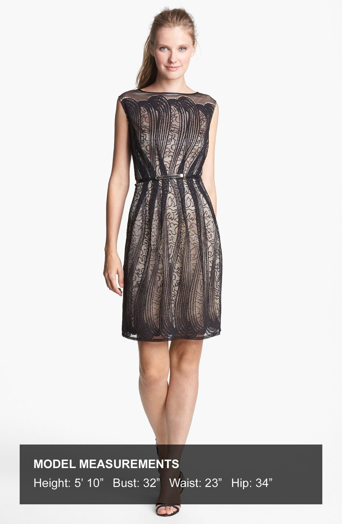 Alternate Image 4  - Adrianna Papell Pleated Lace Dress (Regular & Petite)