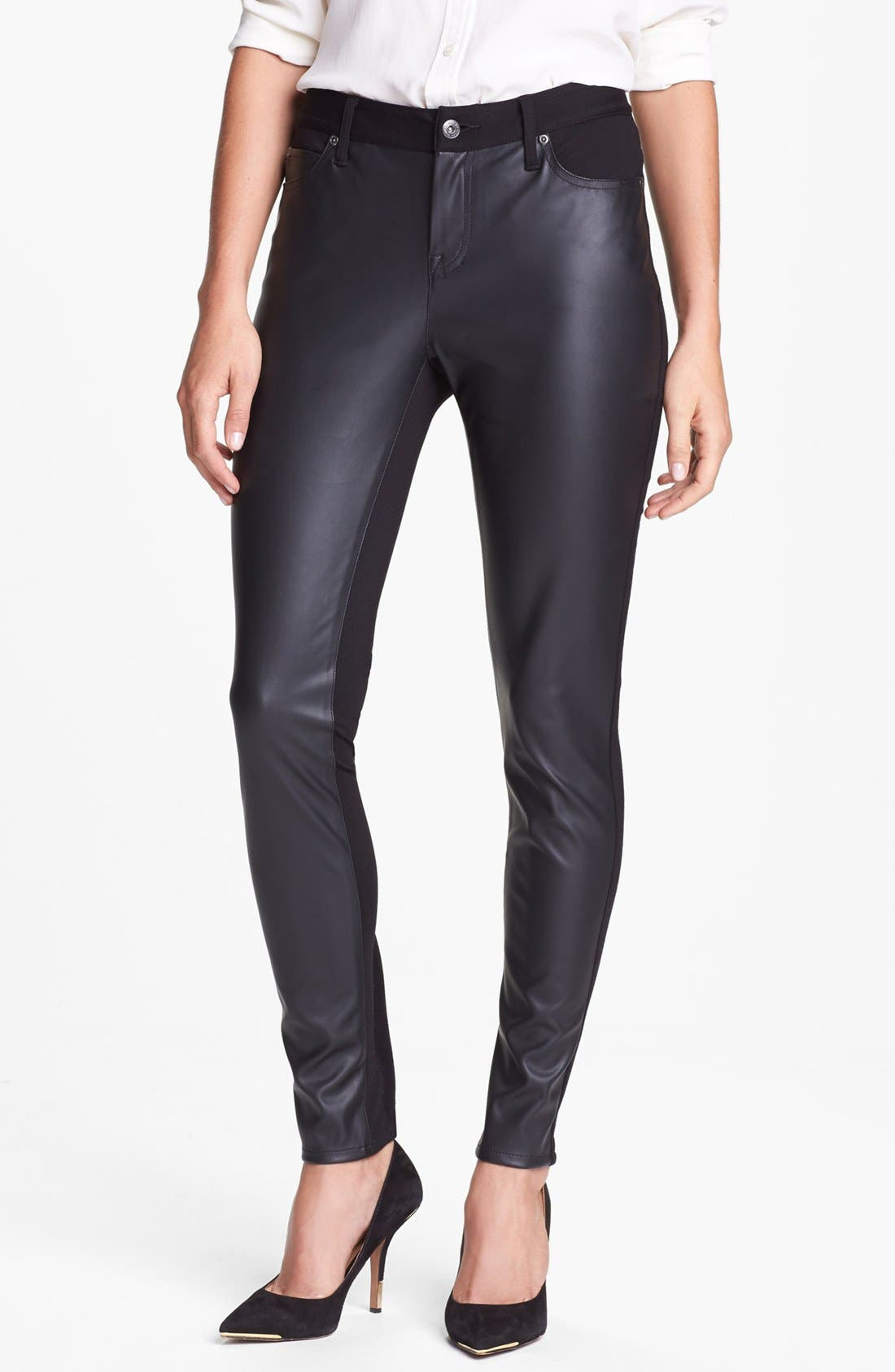 Main Image - Two by Vince Camuto Faux Leather & Ponte Skinny Pants