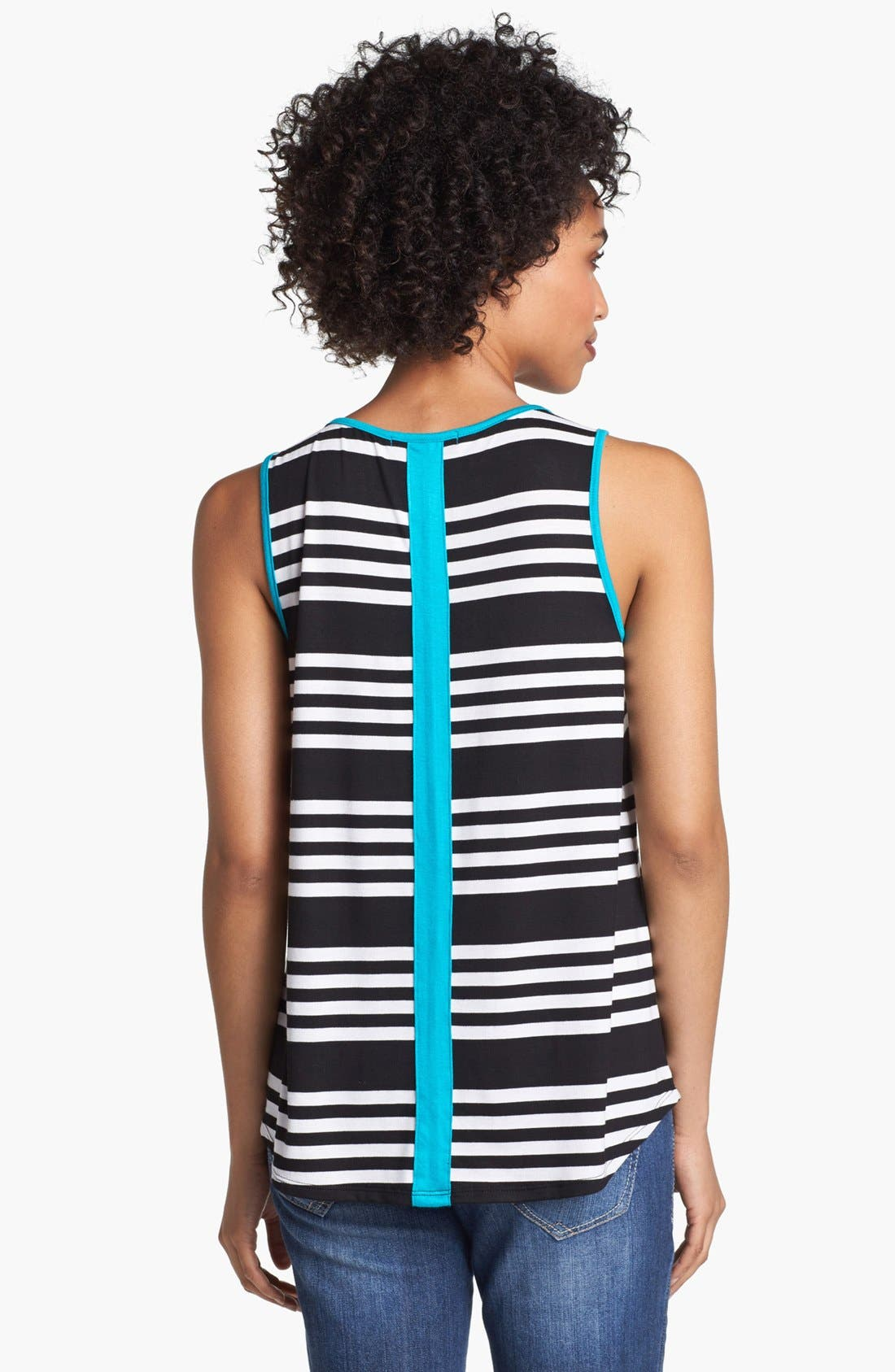 Alternate Image 2  - Olivia Moon Contrast Trim Stripe Tank (Petite)