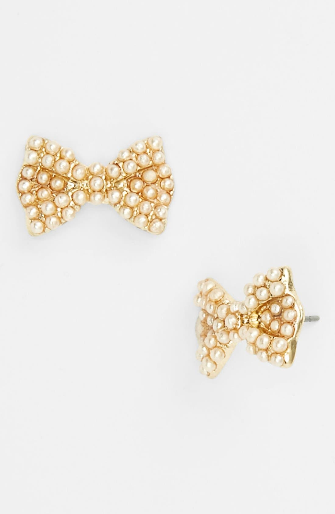 Alternate Image 1 Selected - Carole Faux Pearl Bow Stud Earrings (Juniors) (Online Only)