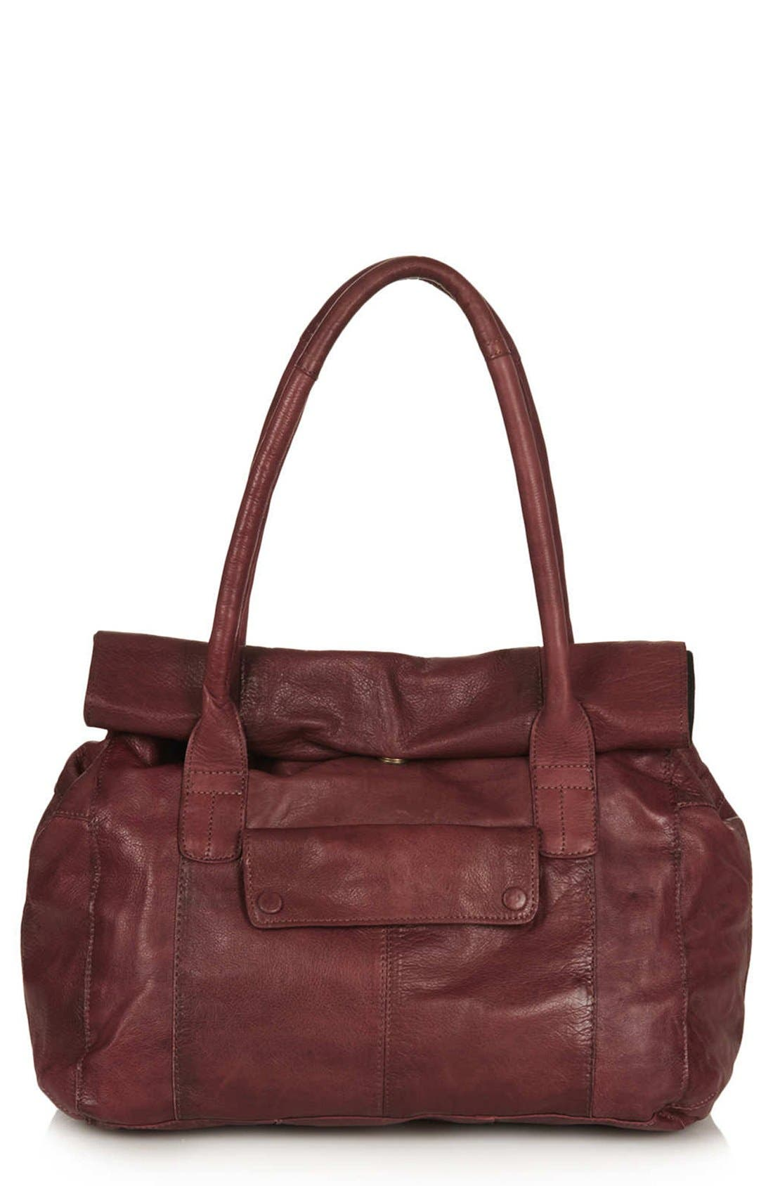Alternate Image 1 Selected - Topshop Roll Top Leather Tote Bag