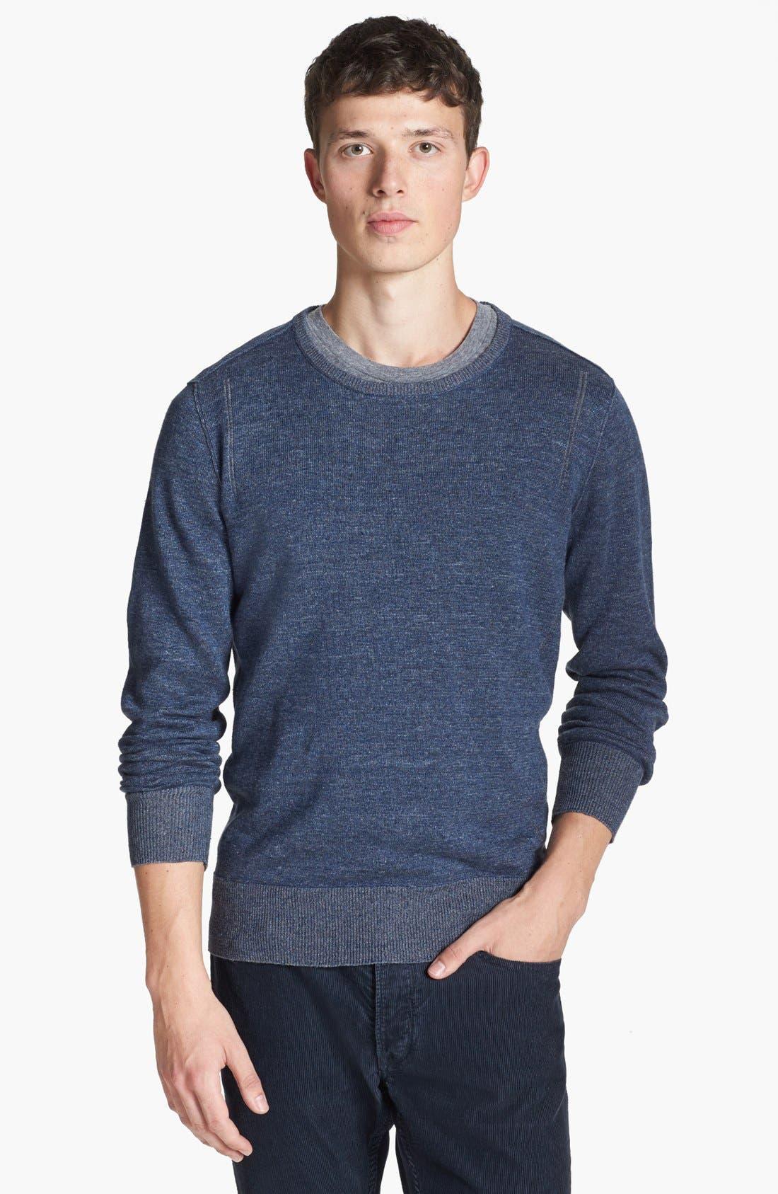 Main Image - John Varvatos Star USA Linen Blend Crewneck Sweater