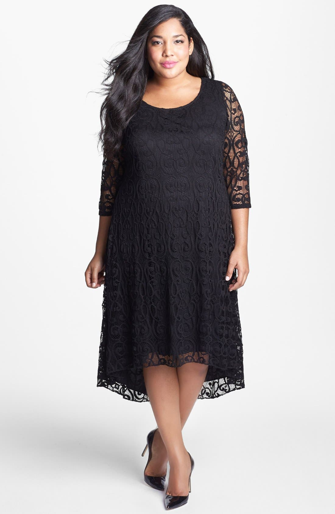 Alternate Image 4  - Adrianna Papell Lace High/Low Dress (Plus Size)