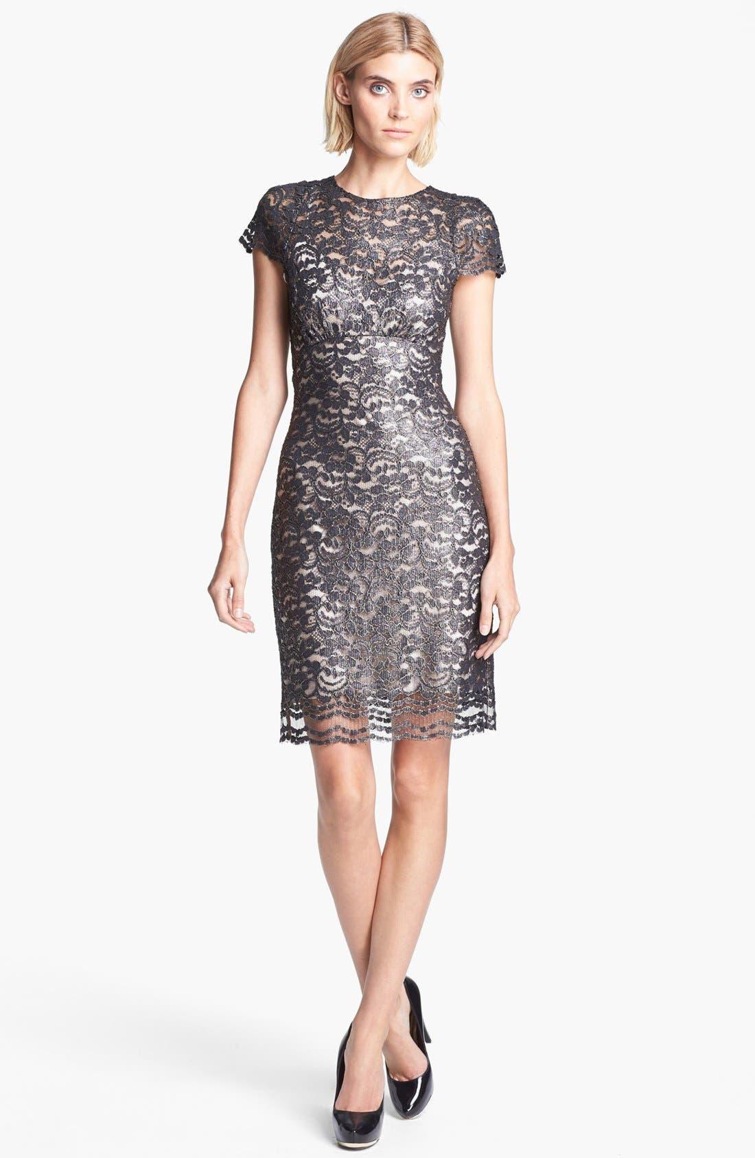 Alternate Image 1 Selected - L'AGENCE Short Sleeve Lace Dress