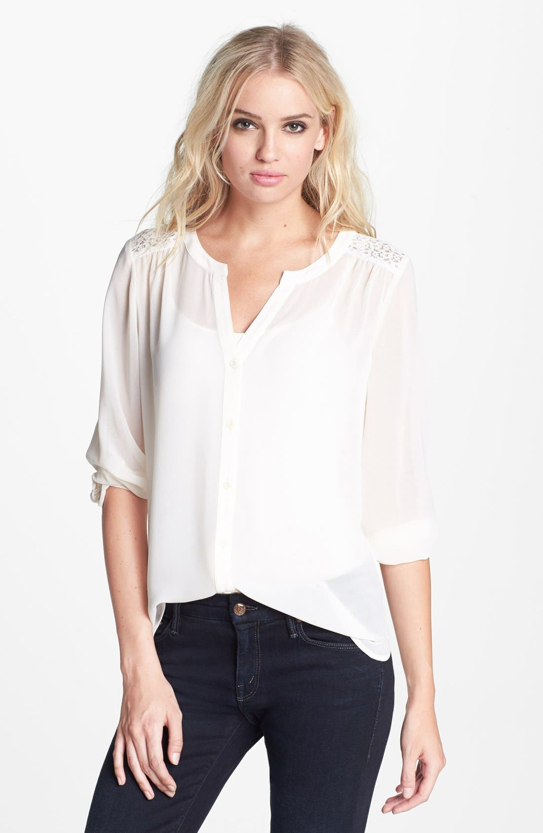 Alternate Image 1 Selected - Hinge® Lace Shoulder Peasant Top