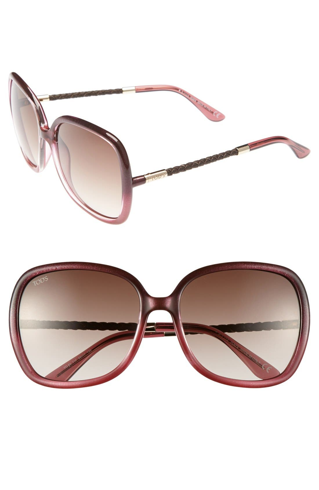 Main Image - Tod's 58mm Woven Leather Temple Sunglasses