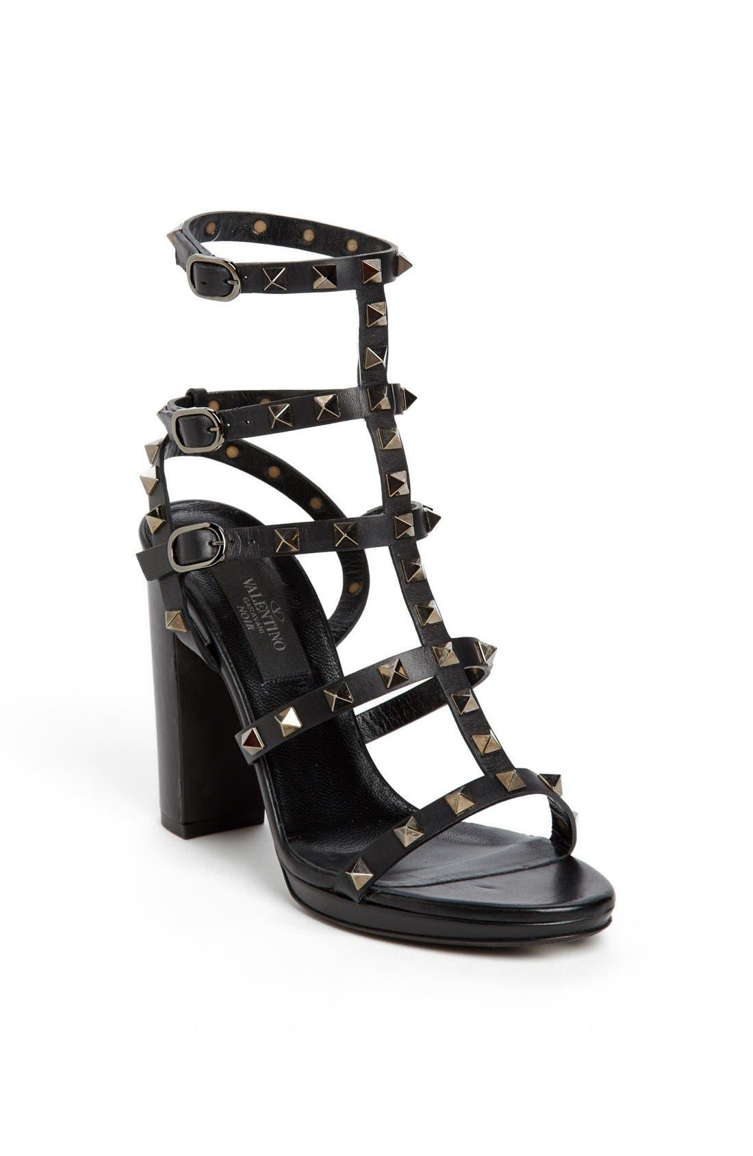 Alternate Image 1 Selected - Valentino 'Noir Rockstud' Sandal