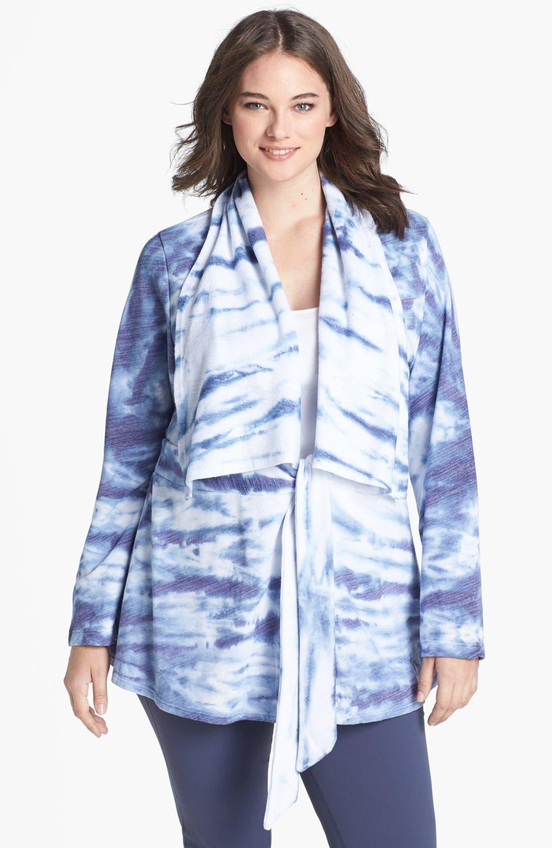 Alternate Image 1 Selected - Pink Lotus 'Tied & True' Wrap Cardigan (Plus Size)