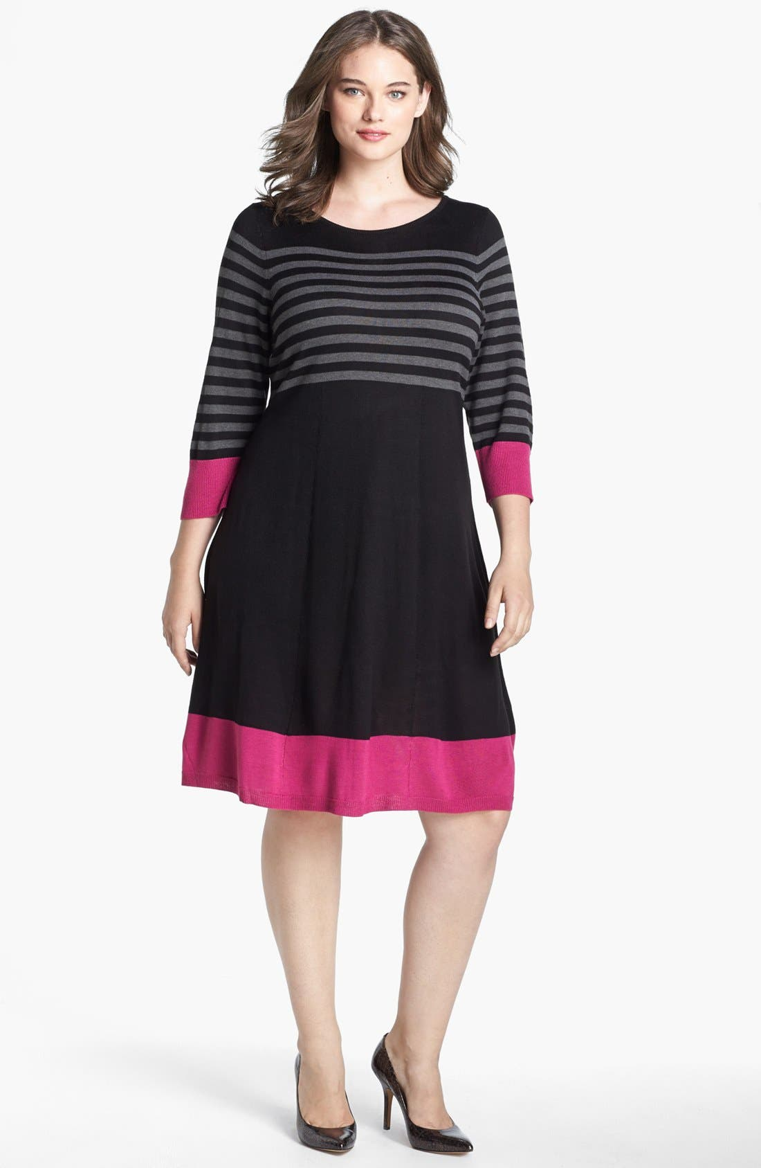 Alternate Image 1 Selected - Eliza J Fit & Flare Sweater Dress (Plus Size)