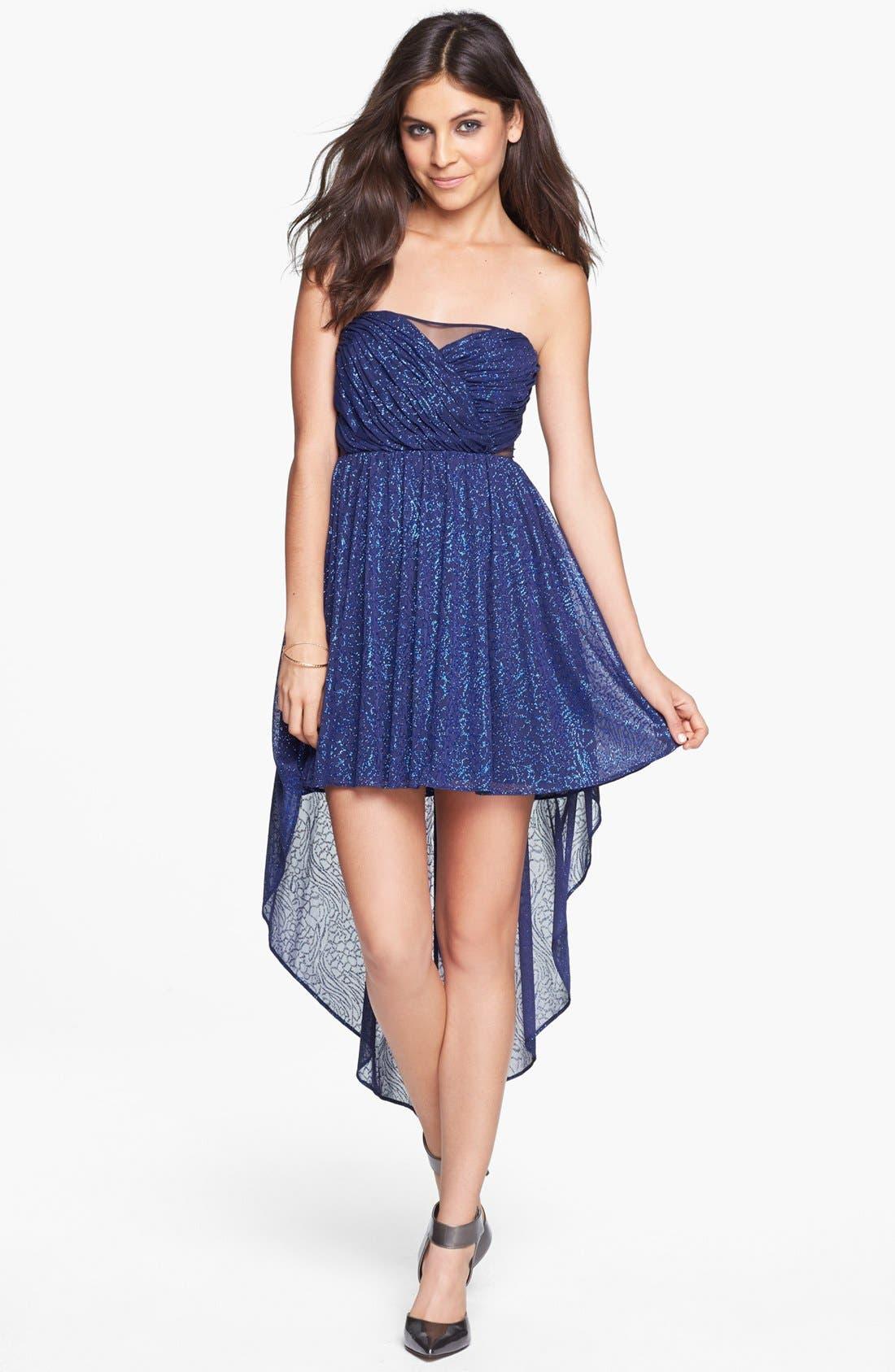 Main Image - Hailey Logan Mesh Inset Glitter High/Low Dress (Juniors)