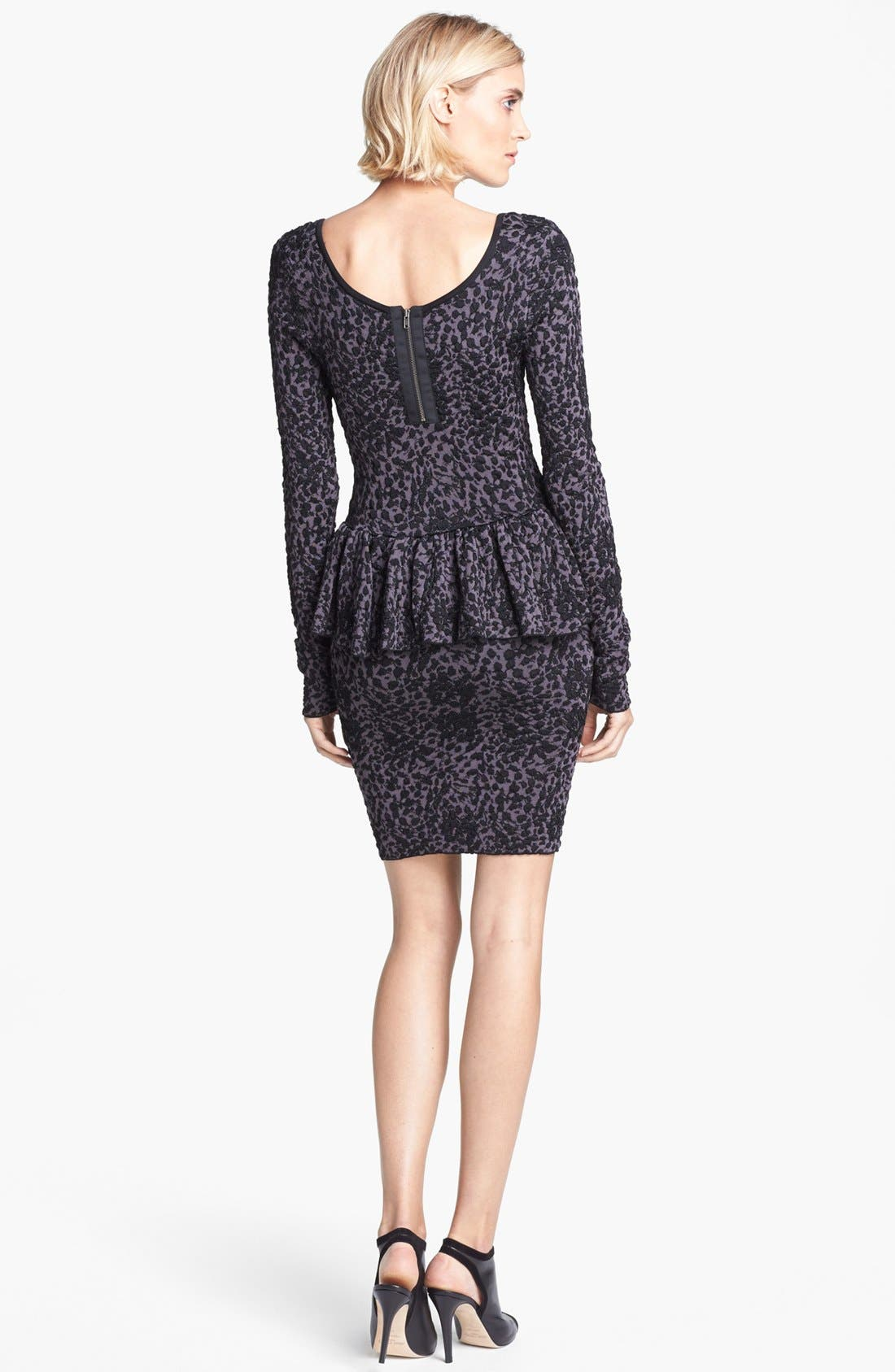 Alternate Image 2  - Jay Godfrey Leopard Jacquard Knit Peplum Dress