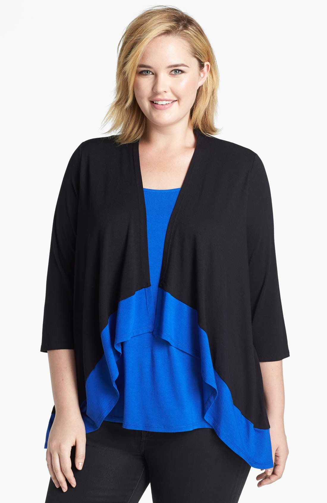 Main Image - Evans Colorblock Cardigan with Faux Camisole Insert (Plus Size)
