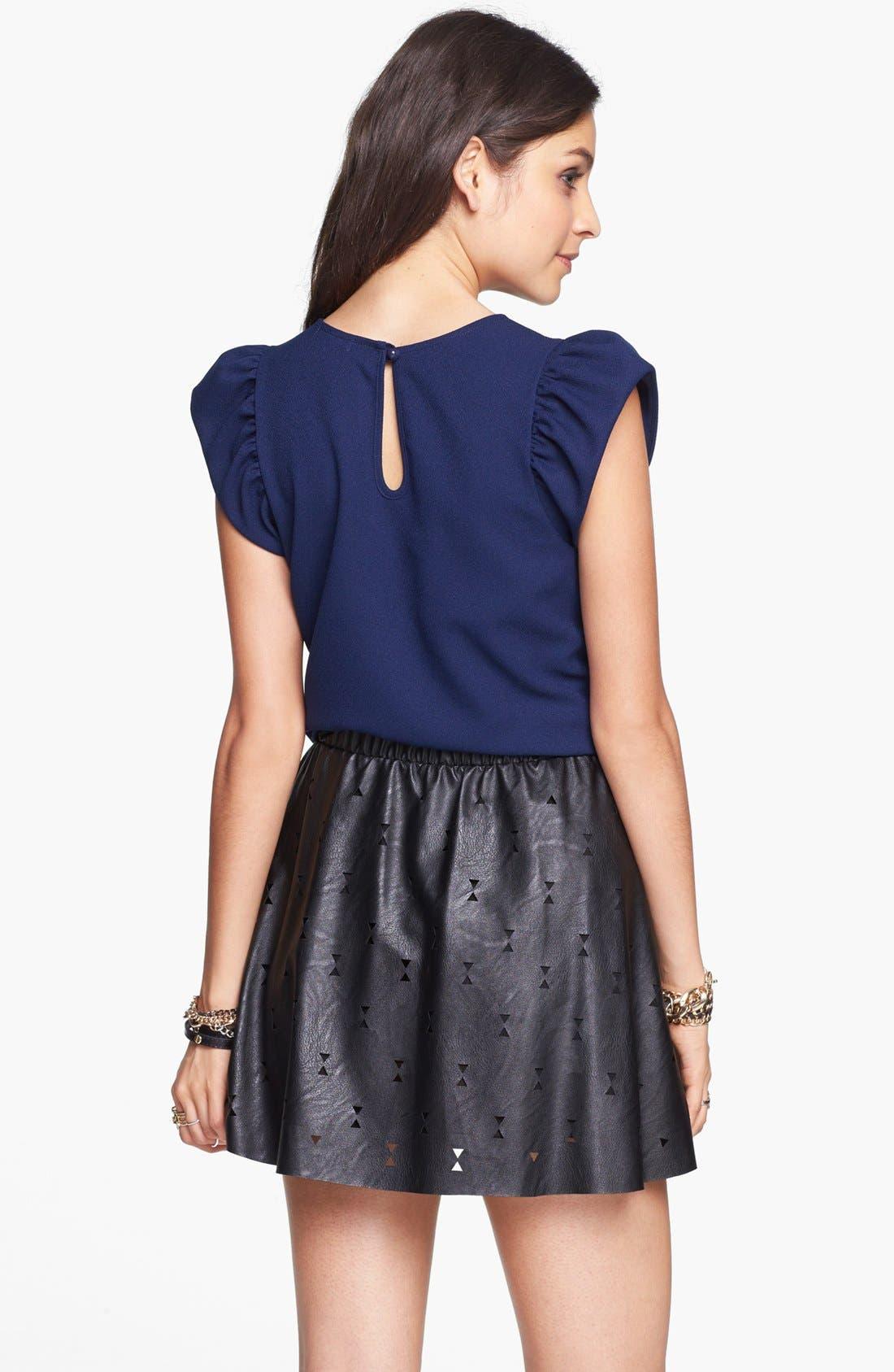 Alternate Image 2  - Blu Pepper Laser Cut Faux Leather Skater Skirt (Juniors)